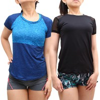 [SPORTS WEAR] PREMIUM BAJU KAOS OLAHRAGA WANITA KETAT YOGA LARI TRAINING GYM