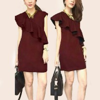 Grosir! Dress Wanita Rayon Bangkok Maroon [Dress Sonea Maroon Sw]
