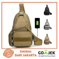 Freeknight Tas Selempang Army Import Tas Dada Pria USB Charger Anti Maling Army Tactical TCS07