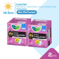 Laurier Pantyliner Cleanfresh Long&Absorb 20S Non Perfume Twinpack