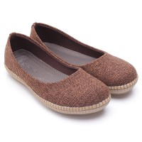 Dr.Kevin Canvas Flat Shoes Ladies 43160 Brown