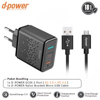 dpower GC06 Wall Charger 2 Port Plus Nylon Braided Micro USB Cable