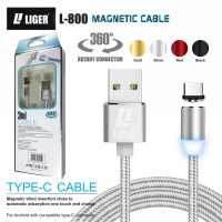 LIGER kabel charger magnetic LED 1meter fast charging TYPE C for Samsung Oppo Vivo Xiaomi Redmi Realme