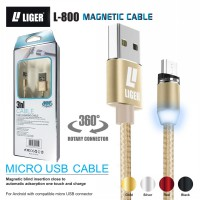 LIGER kabel charger magnetic LED 1meter fast charging Micro USB for Samsung Oppo Vivo Xiaomi Redmi Realme