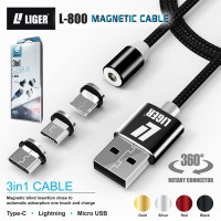 LIGER kabel charger magnetic LED 3in1 MICRO TYPE C IPHONE LIGHTNING cable magnetic charge cable