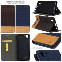 Lenovo Vibe K5 / Vibe K5 Plus Canvas Pocket Leather Case Casing Cover