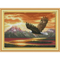 [globalbuy] The Flying Eagle (2) Pattern Counted Cross Stitch 11CT 14CT DMC Cross Stitch S/567681