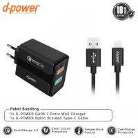 dpower BUNDLING QA05 Wall Charger 2 Port QC 3.0 + Nylon Braided Type-C Cable 3ft/0.9m