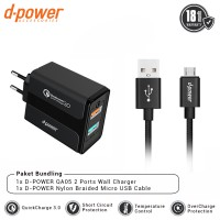 dpower BUNDLING QA05 Wall Charger 2 Port QC 3.0 + Nylon Braided Micro USB Cable 3ft/0.9m