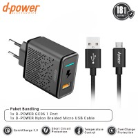 dpower BUNDLING GC06 Wall Charger 1 Port QC 3.0 + Nylon Braided Micro USB Cable 3ft/0.9m
