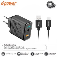 dpower BUNDLING GC06 Wall Charger 1 Port QC 3.0 + Nylon Braided Type-C Cable 3ft/0.9m