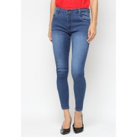 Mobile Power Ladies  Long Pants Slim Fit Jeans - Dark Blue A2803