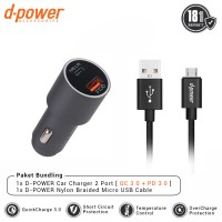dpower BUNDLING Car Charger 2 Port + Nylon Braided Cable Micro USB 3ft