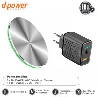 dpower BUNDLING W05 Smart Wireless Charger 10W + Wall Charger GC06 1 Port QC 3.0