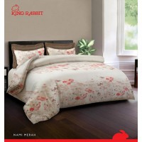 King Rabbit –Seprei & Sarung Bantal King Size 180x200 cm - Flowers In White