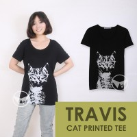The-Fahrenheit Travis Cat Printed Women T-shirt