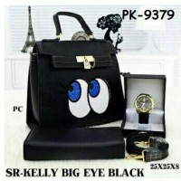 Paket Tas Kelly Big Eye, Dompet Dan Jam tangan ( No Box