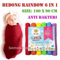 Bedong  Bayi isi 6pcs Kain Bedong Rainbow Flower 6in1 Polos Selimut Swaddle Wrap Baby