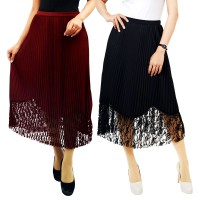 Lily Plisked Hollow Out Midi Skirt - BRPD18108 - 3 Colors