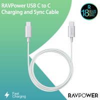 RAVPower 6.6ft/2m C To C Cable - White RP-TPC001