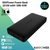 RAVPower 20100mAh Slim PD + QC3.0 Portable Charger-black RP-PB095