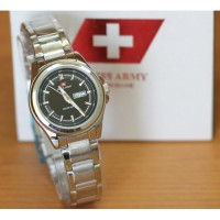 Jam Tangan wanita Swiss Army Date/day Silver Black kw super