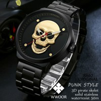 Wwoor 8867 Punk Syle Pirate Skull Gold Rantai Solid Stainless Steel Anti Air Kasual - Original