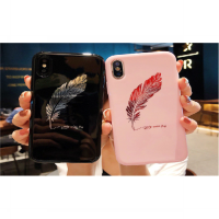 Soft Glossy Case Casing HP IPhone 6 6s 7 7s 8 Plus Black Pink Couple Feather Mirror Gold Elegant Cool Chic Fashion High Class Emas Elegan SHine Mewah