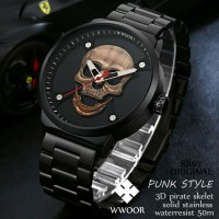 Wwoor 8867 Punk Syle Pirate Skull Rose Gold Rantai Solid Stainless Steel Anti Air Kasual - Original