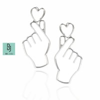 BE.JUU Anting Love Sign Korean Jewelry Silver Color