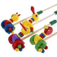 [globalbuy] Cute Cartoon Baby Coagent Toddler Child Putting Animals Wooden Puzzle Trolley /2680868
