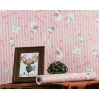 Wallpaper Sticker 10m Motif Hello Kitty Pink