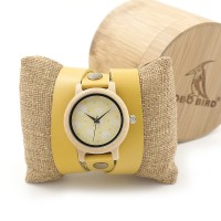 BOBO BIRD M24 Women Created Long Leather Strap Quartz Wood Watch