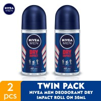 NIVEA MEN Deodorant Dry Impact Roll On 50ml - Twin Pack