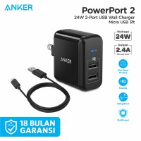 Wall Charger Anker PowerPort 2 24W Foldable + 3ft Micro USB - B2141