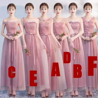 Bridesmaid party dress panjang pink stripes