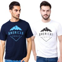 (American Eagle) Baju Kaos Mens Short Sleeve Round Neck T-Shirts With Print Available In 2 Colors