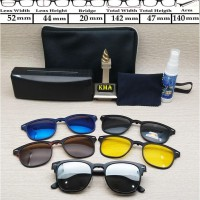 Murah! Kacamata Klip On 5 Lensa Club Master Frame Kacamata Klipon Polarized