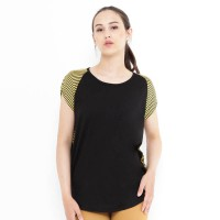 Mobile Power Ladies T-shirt Stripe Combination - Yellow&Black S6736