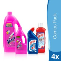 Vanish White 1L & 500ml + Harpic PP Original & Harpic Rose 500ml Combo Pack