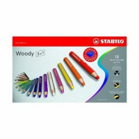 STABILO Pensil Warna Woody 3 in 1 - isi 18 warna(Multicolor)