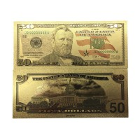 America Gold Banknote $ 50 USD Gold Foil Money Uang