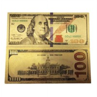 America Gold Banknote $ 100 USD Gold Foil Money Uang