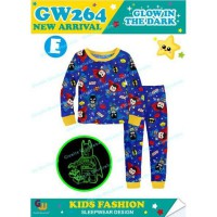 PAJAMAS ANAK GLOW IN THE DARK MOTIF SUPERMAN AND BATMAN (8-13TH) (RSBY-3961)