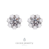 Cocoa Jewelry Crystal Flowers Silver Color