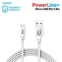 Kabel Charger Anker PowerLine+ Micro USB 6ft/1.8m A8143 White