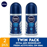 NIVEA MEN Deodorant Fresh Active Roll On 50ml - Twin Pack