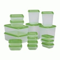 IKEA PRUTA Food container, set of 17, transparent, green