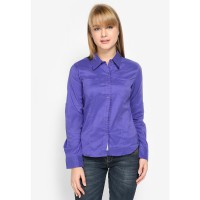 Mobile Power Ladies Basic Corsiva Shirt Long Sleeve - Purple G8358