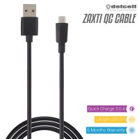 Delcell Zaxti Quick Charging 3A Charger and Data Cable 200cm - Hitam